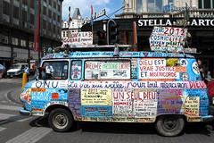 Begium: Brussels, world peace and apocalypse van (Henk Binnendijk) Tags: brussel bruxelles brussels belgium belgië van billboard teksten dieu god 2002 2012 auto bestelbus apocalypse apocalyps worldpeace wereldvrede paix