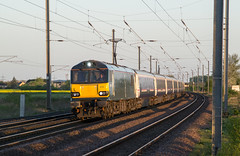 92010 - 1M15 - Woodcroft Road - 18.04.2017 (Tom Watson 70013) Tags: class92 caledonian sleeper 92010 1m15 divert peterborough ecml helpston glinton woodcroft road crossing