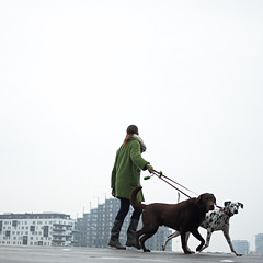 Distracted walk (Bjarne Erick) Tags: walk girl dogs green coat distracted distraction square fuji xt2 color colour