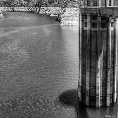 Hoover Dam. Lake Mead. (russellfenton) Tags: blackandwhite bnw arizona usa hooverdam lakemead squareformat