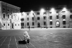 sitting in the piazza (gorbot.) Tags: leicam8 carlzeiss35mmbiogonf2zm mmount rangefindercamera blackandwhite monochrome vscofilm vsco pisa italy piazza dei cavalieri night street