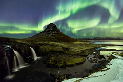 Sky Dragon (MRC Imagery) Tags: kirkjufell auroraborealis northernlights colour night nightsky nightscape mountain snow cold ice landscape waterfall water glow nature iceland 1635mm canon stars aurora