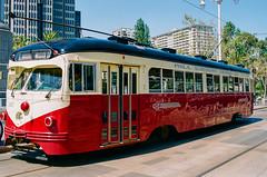 PCC Car in San Francisco (beltz6) Tags: streetcar muni sanfrancisco sfmuni sanfranciscomunicipalrailway pcc trolley tram rail railway nikon fm3a nikonfm3a