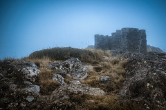 Witch Hill Fog (Mark Hannah Photography) Tags: witchhill porthills newzealand christchurch landscape mist misty fog haze ruin hill path mysterious celtic nature fineart dream fantasy calm artistic moody atmosphere dramatic outdoors atmospheric foggy rocks grass peacful