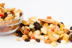 tropical nuts and fruits mix (agenciareventos) Tags: driedfruits fruit fruits banana bananas dry dried nut nuts candiedfruit candiedpeel coconut coco white raisins sultana plum mix plate kernel eat food ingredient many isolated tropical wholesome flavorful mango pineapple papaya diet vegeterian