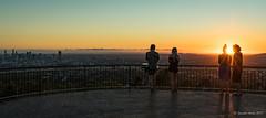 Brisbane sunrise (NettyA) Tags: 2017 australia brisbane mtcoottha mtcootthalookout qld queensland sonya7r fine seqld sun sunrays sunburst sunrise orange golden people silhouette lookout fence panorama
