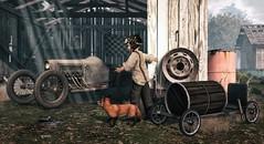 Amazement awaits us at every corner. (Skippy Beresford) Tags: boy child childhood vintage car barrelcar soapboxcar discovery curiosity explorer exploration creativity light fox friend love play rural life sunlight world