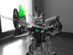 G Gundam Gガンダム (Shutter Chimp: Im back!) Tags: gundam toy figure g japan japanese sword green hobby glow hand monochrome part colour color ガンダム おもちゃ ホビー gガンダム ポーズ 緑 剣 鮮やか 手 モノクローム フィギュア colourkeying colourkey colorkey key gunpla ガンプラ