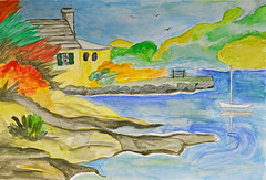 Mom's Island House (BKHagar *Kim*) Tags: bkhagar art artwork paint painting mom moms watercolor island house water boat sailboat