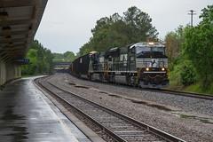 Rainy-Day M (ajketh) Tags: ns norfolk southern 2643 sd70m emd p65 cnl csx rainy flood storm rainstorm amtrak station freight woodchip train railroad columbia sc south carolina