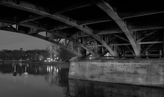 Under Djurgardsbron at night B&W (Daniel BJ Bengtsson) Tags: 1when 2where 3subject adressstreetetc bridge citypostaladress country county djurgården night stockholm sweden timeofday