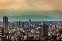 Fujiyama mountain (Evgeny Gorodetskiy) Tags: autumn travel overlook tokyo fujiyama birdseye city fuji skyscrapper volcano japan mountain minatoku tōkyōto япония jp