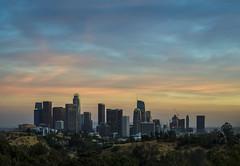 DTLA Sunset (clarsonx) Tags: losangeles california elysianpark angelspoint dtla la downtown sunset skyline twilight dusk clouds landscape city cityscape