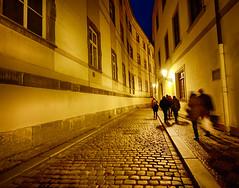 Night in Prague, Czech Republic (` Toshio ') Tags: toshio prague czechia czechrepublic city europe europeanunion european street cobblestone night people walking fujixe2 xe2