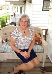 Just A Woman Enjoying The Morning (Laurette Victoria) Tags: gray woman porch skirt denim laurette
