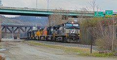 Line of Power (brutus61534) Tags: railroad train locomotives engines norfolksouthern bnsf unionpacific 9284 6784 4116 401 9257 7525 5342 trestle road bridge signs