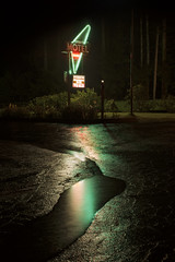 Dogwood Motel (Curtis Gregory Perry) Tags: neon sign dogwood motel night wet parking lot rain puddle reflection green red light signage idleyld park or raining weather nikon d810 longexposure 50mm f12 pavement dark lodging