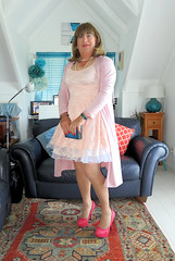 Pink Lace Dress (Trixy Deans) Tags: crossdresser cd cute crossdressing crossdress classy cocktaildress corset sexy xdresser sexytransvestite sexyheels sexylegs sexyblonde