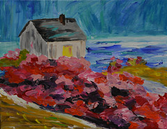 House on the Shore With Flower Hedge (BKHagar *Kim*) Tags: bkhagar art artwork painting paint acrylic house sky sea ocean flowers hedge