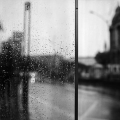 Rainy April (brenkee) Tags: 6x6 mediumformat film analog buyfilmnotmegapixels filmisnotdead hasselblad carlzeiss planar 80mm 28 ilford hp5plus lc29 grain rain budapest april cold weather busstop glass