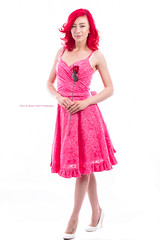 Pretty in Pink (Dana Brady -Thank you for 1 million views) Tags: pink pinkdress redhair redrose flower rose classic