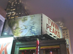 Twin Peaks Billboard Times Square 2017 Foggy Night NYC 4850 (Brechtbug) Tags: twin peaks the return billboard poster ad laura palmer sheryl lee fbi agent dale cooper kyle maclachlan mystery 90s show showtime type mysterious bird birds owl owls may 05212017 9pm 2017 nyc broadway 50th st near times square midtown manhattan street new york city streets 04272017 hazy fog foggy night nite