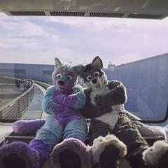 Just me and my best friend @arcothewolf #frankfurt #airport #fluffy #monorail #friends (Keenora Fluffball) Tags: keenora fursuit furry kee