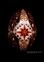 aEtched 1 (so_jeo) Tags: red etched brown white art chicken easter egg tan cream hen ukrainian batik pysanka pysanky