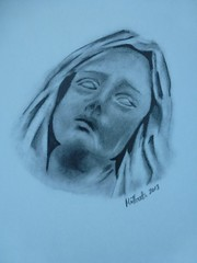 ourlady (tentaclesnpoptarts) Tags: pencil religious drawing mary draw statuary pencildrawing ourlady