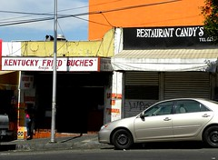 "Kentucky Fried ""Buches"" and Restaurant Candy's, Zona Norte, Tijuana (Todd Mecklem) Tags: street mexico cuisine calle sidewalk prostitution bajacalifornia tijuana prostitutes redlightdistrict sidewalks tj buche zonanorte buches"