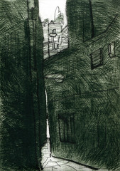wapping001 (Prof Shorthair) Tags: london art print etching alley passage wapping drypoint eastlondon