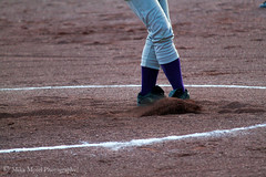 (Mika Morel) Tags: school white socks chalk high sand purple pants id idaho boise dirt ready pitch push softball pitcher preparation cleats borah