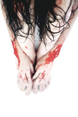 sammy (olive demarest) Tags: black contrast canon dark scary blood hands candle zombie goth makeup creepy bathtub sheet