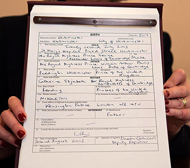 Prince George of Cambridges birth certificate