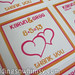 "Custom Orange and Hot Pink Double Hearts Wedding Favor Labels/Stickers Personalized <a style=""margin-left:10px; font-size:0.8em;"" href=""http://www.flickr.com/photos/37714476@N03/9473628618/"" target=""_blank"">@flickr</a>"