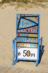 Take Away Snack Bar (50m to the left) (Pauls Pixels) Tags: lx5 montegordo 2013 algarve portugal signs banners adverts beachrestaurant beachhut flickr 1000 allcontent
