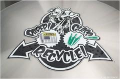 True Oregon Duck Fans Recycle. (JSB PHOTOGRAPHS) Tags: true oregon duck nikon stadium bin eugene jpg fans nikkor recycle d1 autzen 18300mm dsc1517