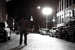 In Dumbo, Brooklyn (Alexander Marte Reyes) Tags: nyc newyorkcity bridge blackandwhite newyork skyline brooklyn photography lights photos manhattan streetphotography dumbo bridges manhattanbridge empirestatebuilding brickroad