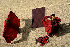 Red Dress (karmajigme) Tags: red color childhood children nikon asia dress bhutan religion monk d700