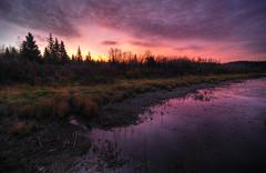 Saturday Sunrise (Len Langevin) Tags: pink red cloud canada color reflection water sunrise landscape nikon scenery day purple cloudy tokina alberta reddeer 1224 d300s