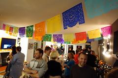 Happy People (Heath & the B.L.T. boys) Tags: garland friends costume flag bunting
