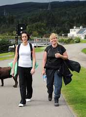Happy to be finished the walking leg, Kimberley Smith and colleague of Peter Graham Associates. Photo courtesy of Karen Carruth, The Scottish Farmer