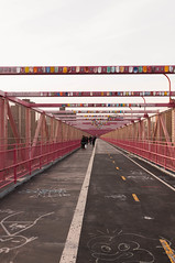 Look Overhead (flyingspores) Tags: new york bridge newyork art brooklyn pedestrian walkway williamsburg williamsburgbridge