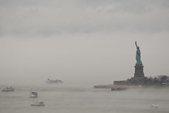 NY Harbor Saturday morning (Jay Fine) Tags: fog landscape statueofliberty tourboats vision:mountain=064 vision:sky=0924 vision:outdoor=0987 vision:clouds=0746 vision:ocean=0588