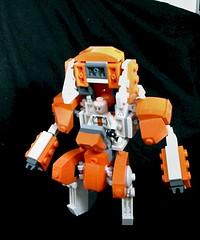 Space Team - Combat Mech (2/3, opened) (Jandyman) Tags: orange white toy robot lego mini figure minifig combat mecha mech minifigure moc