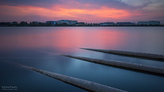 Afterglow (rh89) Tags: pink blue sunset abstract color colour water 30 night landscape twilight nikon singapore soft long exposure glow angle 10 pipes wide smooth stack reservoir 150 stop filter 09 lee nd sw after stacking nikkor filters grad minimalist stacked holder silky graduated density haida afterglow stops neutral d600 gnd 1424 1424mm sw150 vision:mountain=0544 vision:sunset=0901 vision:outdoor=0971 vision:clouds=0909 vision:ocean=0783 vision:sky=0965