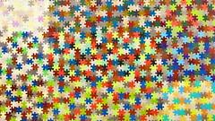 piece of the puzzle (Mattijsje) Tags: holland art netherlands colors museum colours kunst den puzzle jigsaw haag kleuren puzzel haagsgemeentemuseum stukjes legpuzzel vision:text=0663 vision:outdoor=0661