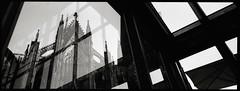 Window view (RafaelGonzalez.) Tags: travel summer blackandwhite film 35mm germany europe cathedral cologne kln panoramic analogue centralstation klnerdom hasselbladxpan rafaelgonzalez