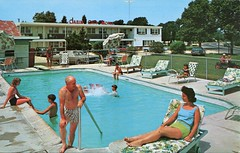 Cabin City Motel, Cape May, New Jersey (SwellMap) Tags: sun pool architecture swimming vintage advertising design pc 60s fifties postcard suburbia style motel kitsch retro swimmingpool nostalgia chrome pools swimmer americana 50s roadside poolside googie populuxe sixties babyboomer consumer coldwar midcentury spaceage aquatics atomicage