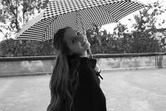 Soph in Paris (Andrea Patruno) Tags: portrait blackandwhite bw paris france blancoynegro umbrella 35mm canon soph 50mm monocromo blackwhite francia biancoenero beautifulgirl parigi adorenoir